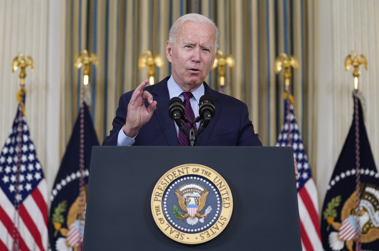 President Joe Biden delivers remarks on the debt ceiling during an event in the State Dining Room of the White House in Washington D.C., U.S., Oct. 4, 2021. (AP Photo)