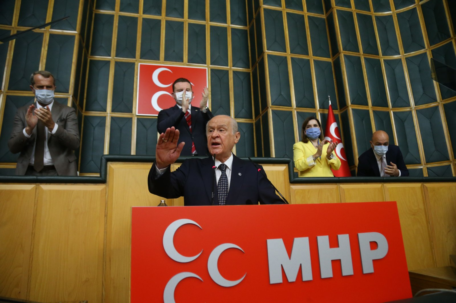 Nationalist Movement Party (MHP) Chairperson Devlet Bahçeli gestures during his party's parliamentary group meeting in Ankara, Turkey, Oct. 5, 2021. (IHA Photo)