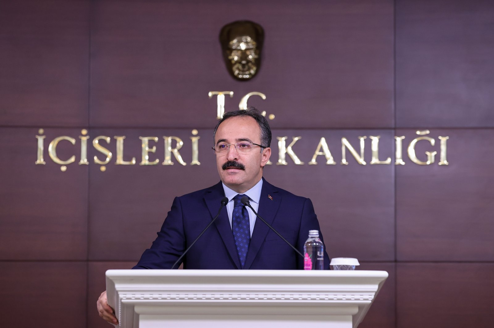 Deputy Interior Minister Ismail Çataklı speaks during a monthly briefing in the capital Ankara, Turkey, Oct. 5, 2021. (AA Photo)