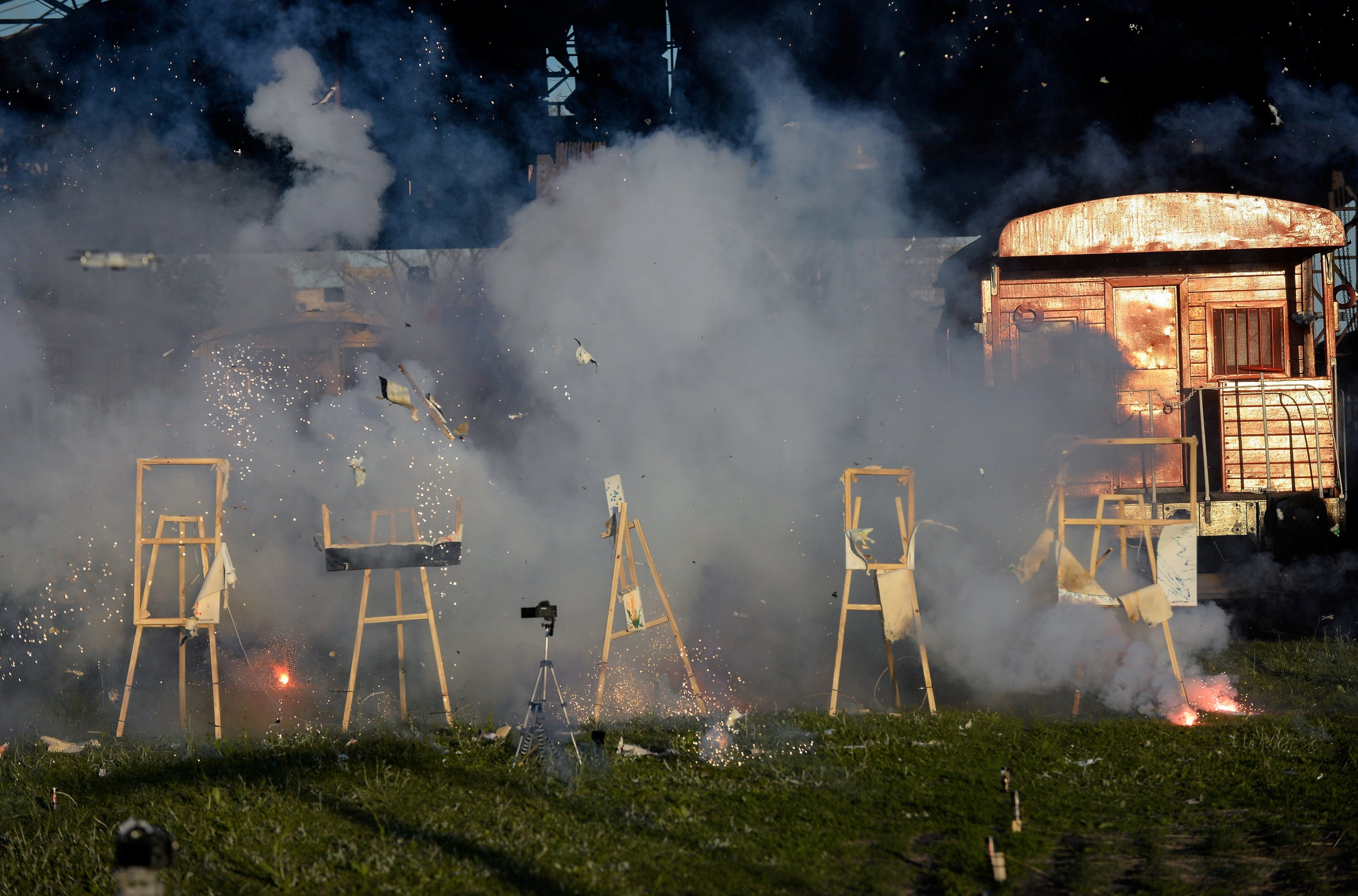 Paintings made by Argentine artist Leandro Granato with his colored tears explode, before the artist turns his work to NFT, in Buenos Aires, Argentina, Oct. 3, 2021. (REUTERS Photo)
