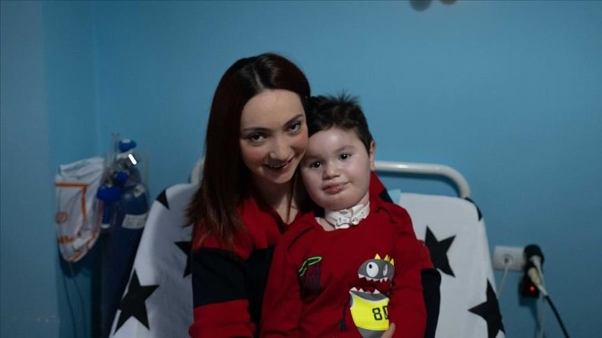 Ece Soyer Demir, who campaigned for free SMA tests for couples, poses with her son Çağan Meriç who has the illness, in Eskişehir, central Turkey, Nov. 15, 2020. (AA PHOTO)