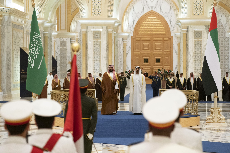 Saudi Crown Prince Mohammed bin Salman (center L) attends a ceremony with Abu Dhabi Crown Prince Mohammed bin Zayed (center R) in Abu Dhabi, the United Arab Emirates, Nov. 27, 2019. (AP Photo)