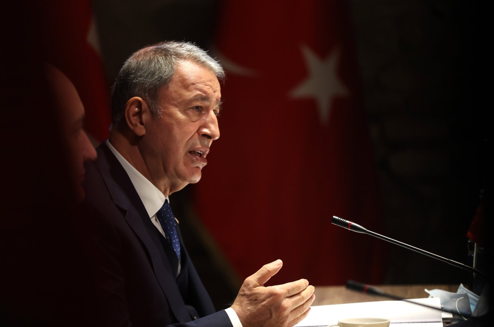 Defense Minister Hulusi Akar speaks to reporters following a meeting with his Georgian and Azerbaijani counterparts in Tbilisi, Georgia, Oct. 5, 2021. (AA Photo)