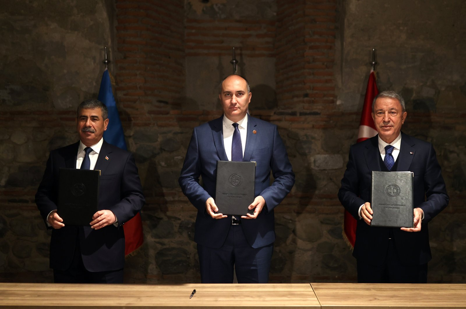 Georgia's Defense Minister Juansher Burchuladze is seen together with Defense Minister Hulusi Akar (R) and Azerbaijan's Defence Minister Zakir Hasanov in Tbilisi, Georgia, Oct. 5, 2021 (AA Photo)
