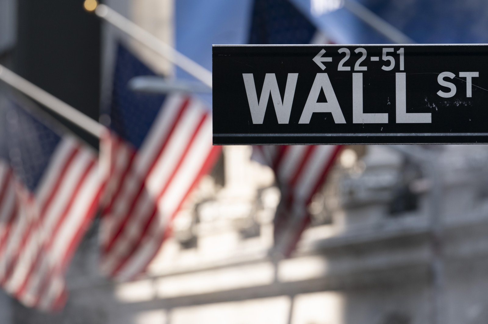 A sign for Wall Street hangs in front of the New York Stock Exchange, July 8, 2021. (AP Photo)