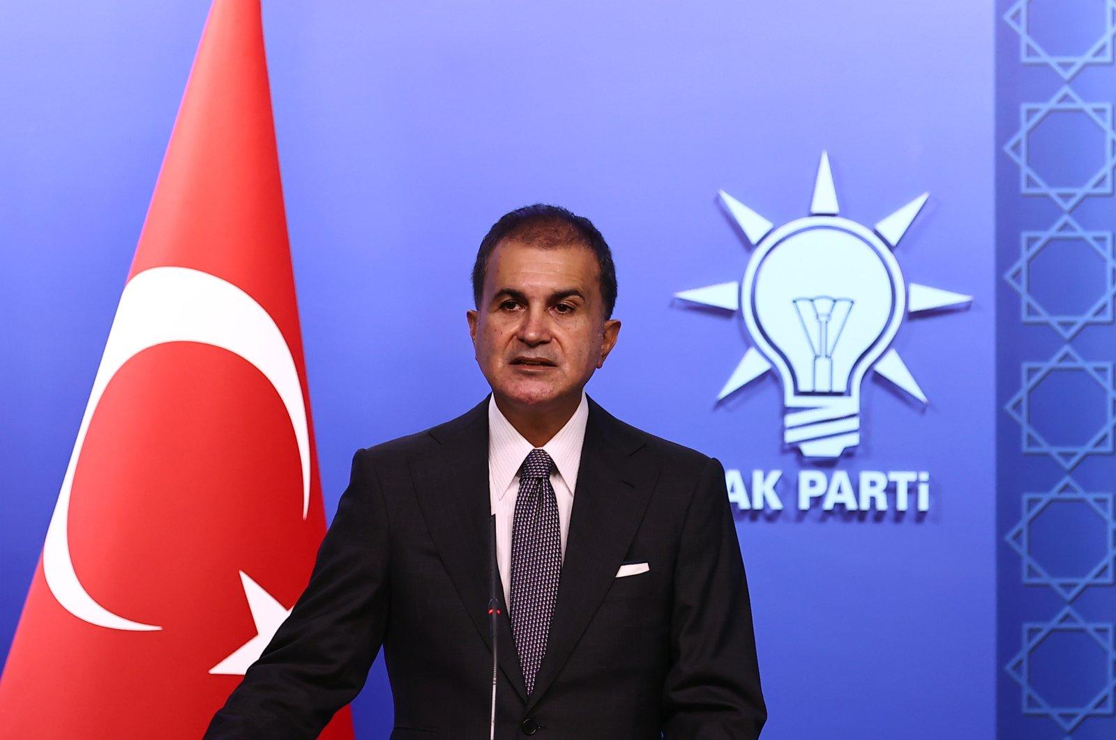 AK Party Spokesperson Ömer Çelik speaks to reporters following a meeting in Ankara, Tuesday, Oct. 5, 2021. (AA Photo)