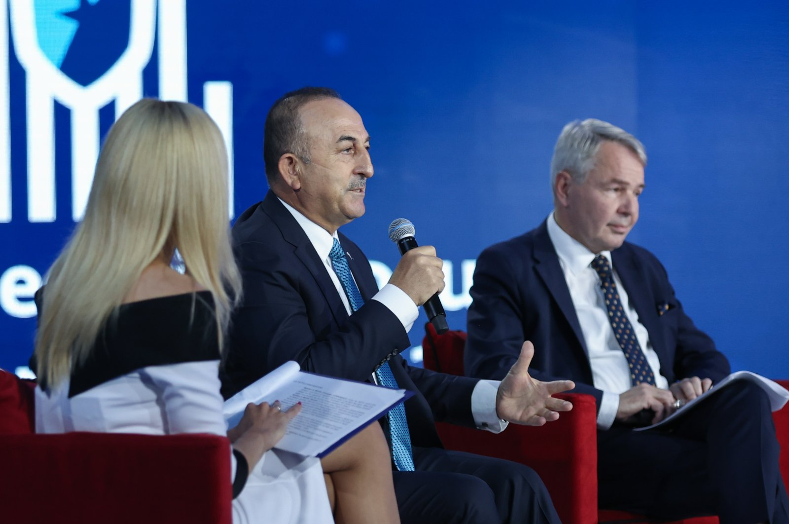 Foreign Minister Mevlüt Çavuşoğlu speaks during the 7th Warsaw Security Forum, Warsaw, Poland, Oct. 5, 2021. (AA Photo)