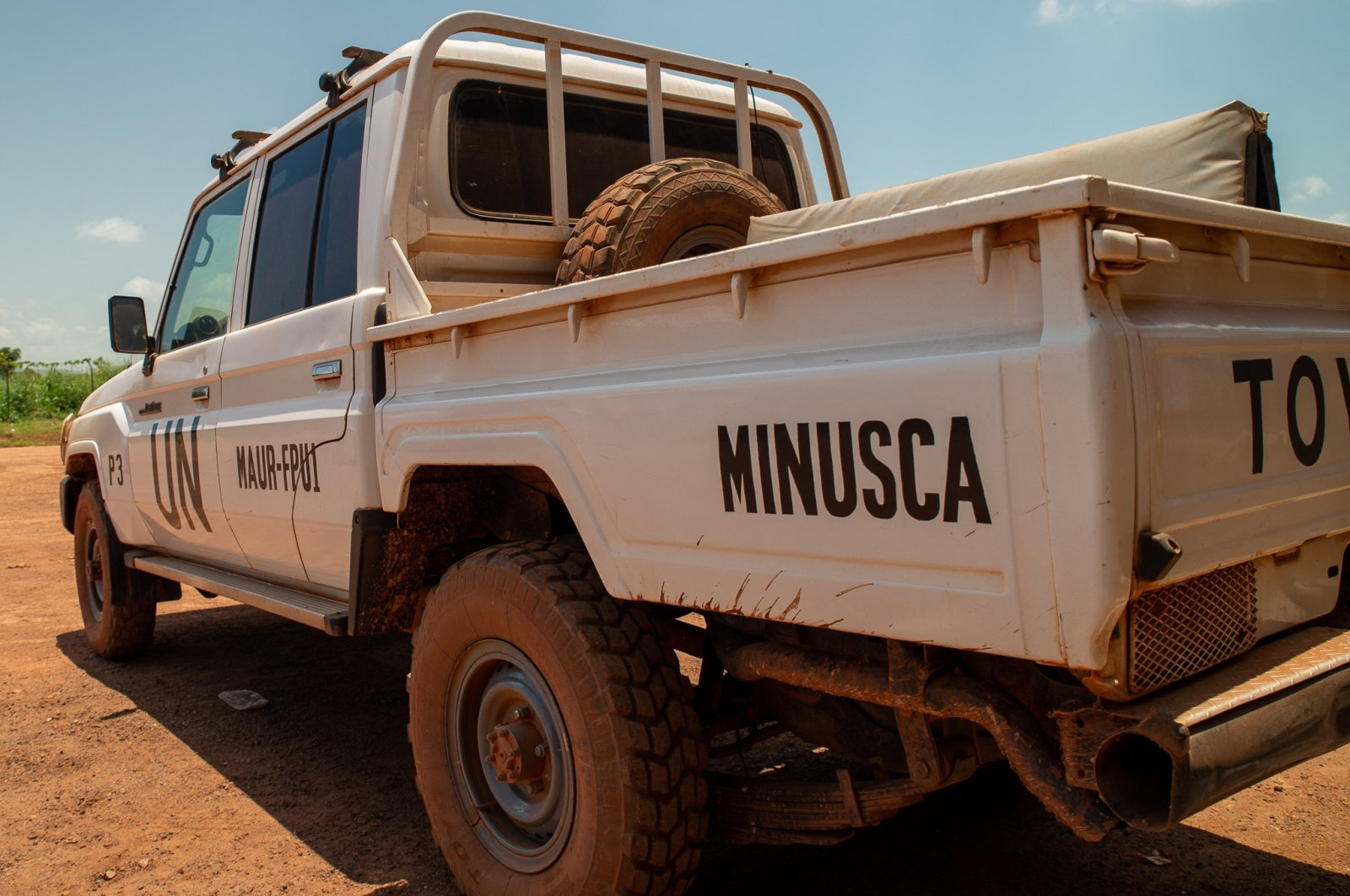 An off-road vehicle is seen on the tarmac as Tunisian soldiers participating in the U.N. peacekeeping mission arrive at Bangui airport, Central African Republic, Sept. 21, 2021. (AFP Photo)
