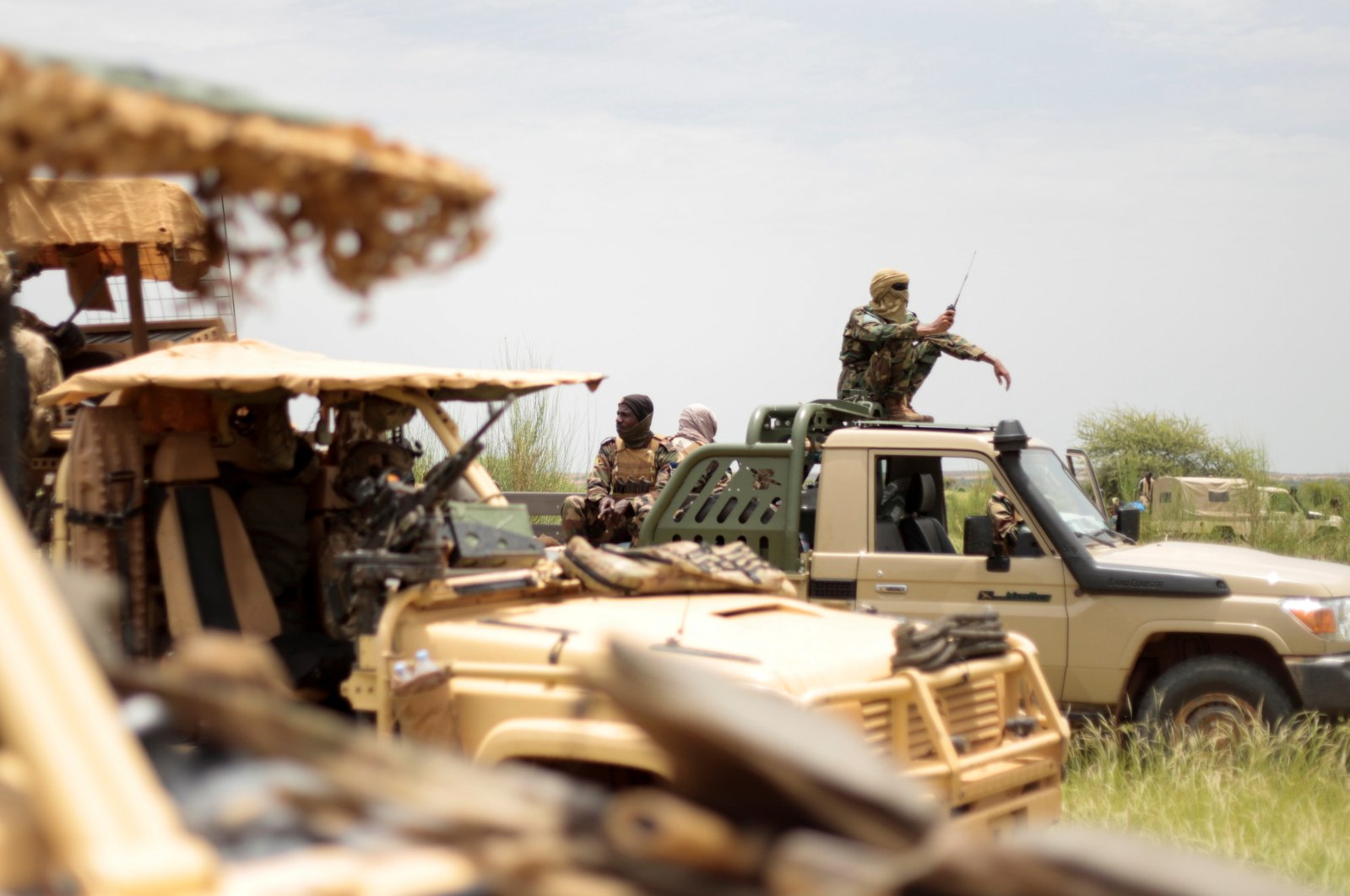 Malian soldiers are pictured during a patrol with soldiers from the new Takuba force near Niger border in Dansongo Circle, Mali, Aug. 23, 2021. (Reuters Photo)