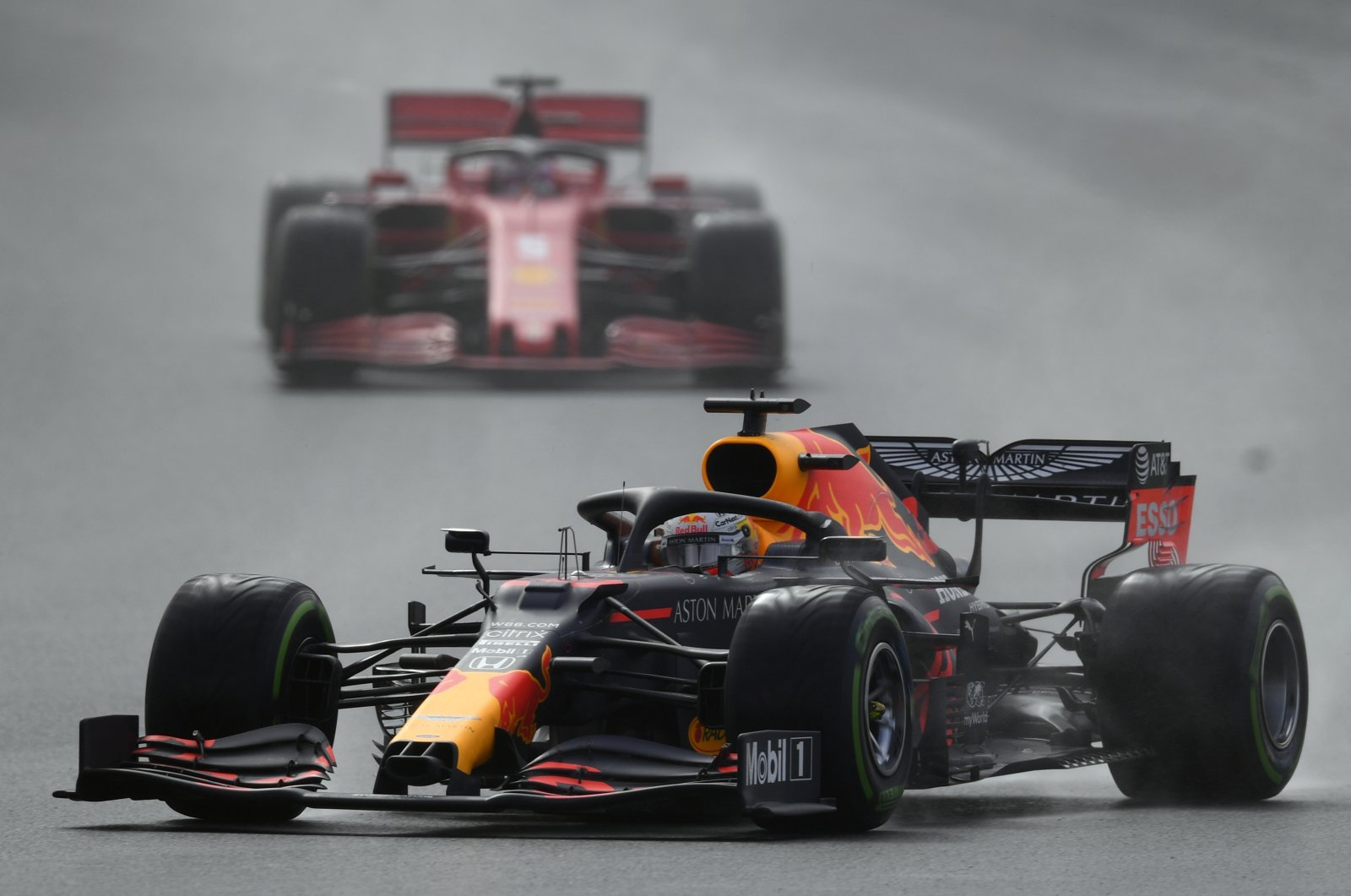 Red Bull driver Max Verstappen steers his car during the Turkish Formula One Grand Prix at the Istanbul Park circuit racetrack in Istanbul, Turkey, Nov. 15, 2020. (AP Photo)
