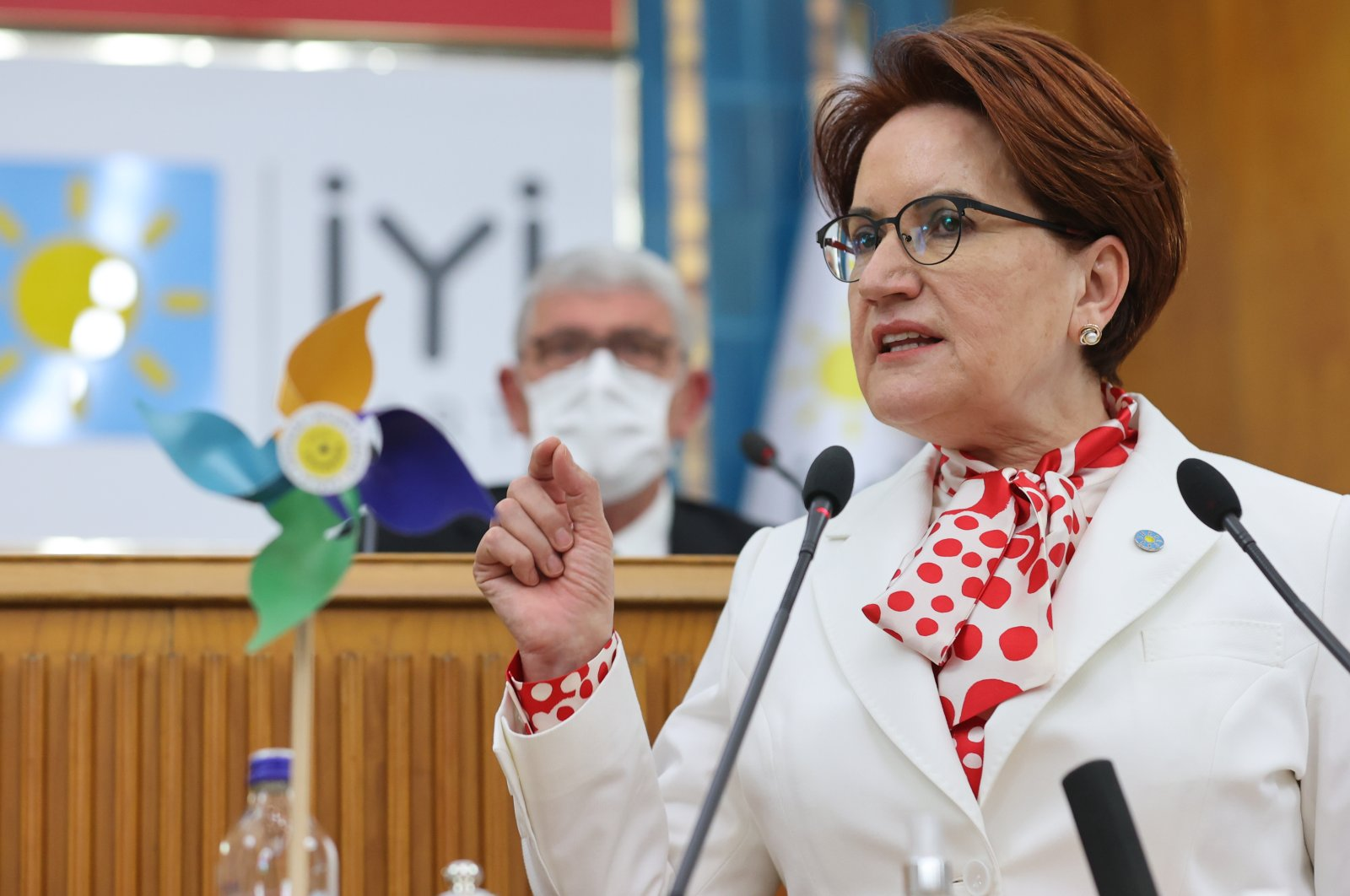 Meral Akşener, the chair of the Good Party (IP), addressing her parliamentary group in the capital Ankara, Turkey, Oct. 6, 2021. (AA Photo)