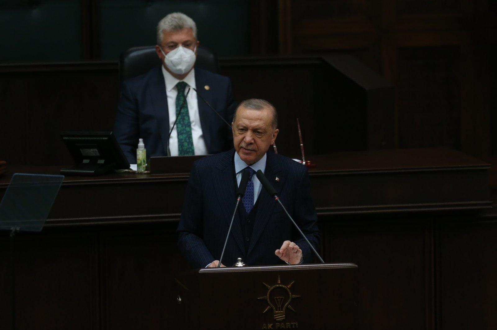 President Recep Tayyip Erdoğan speaks at the AK Party's parliamentary group meeting in Ankara, Turkey, Wednesday, Oct. 6, 2021. (IHA Photo)