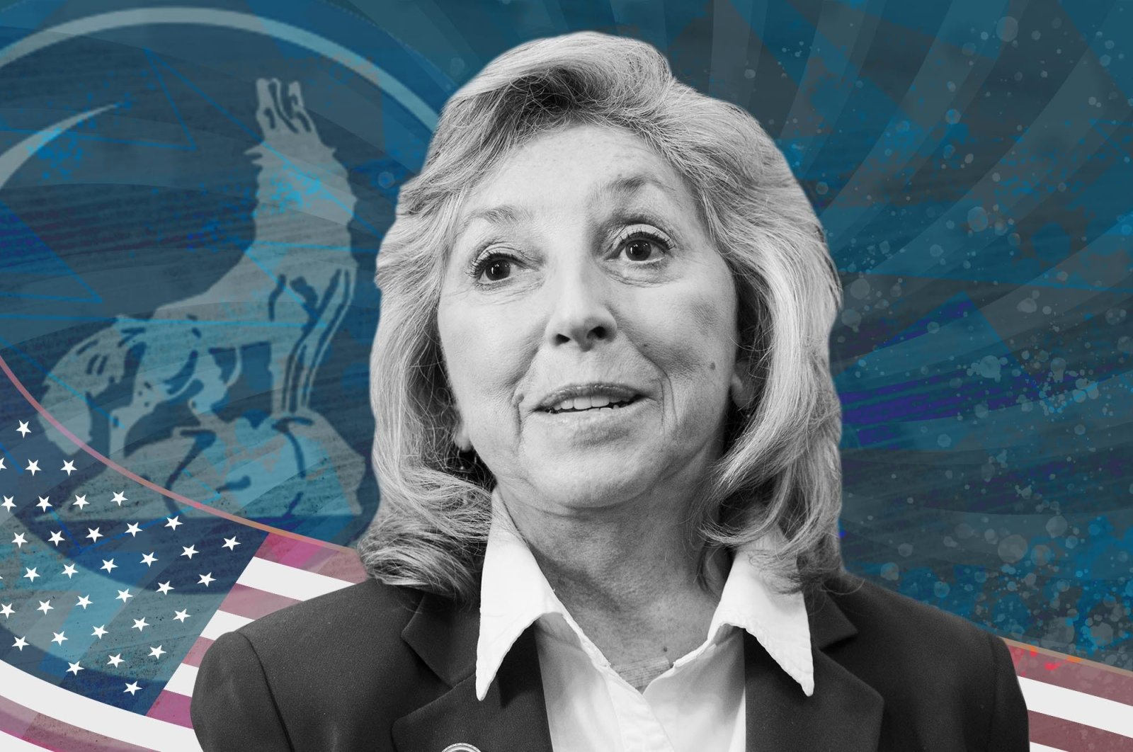 The photo illustration by Daily Sabah's Büşra Öztürk shows Nevada State Rep. Dina Titus with the logo of Grey Wolves in the background.