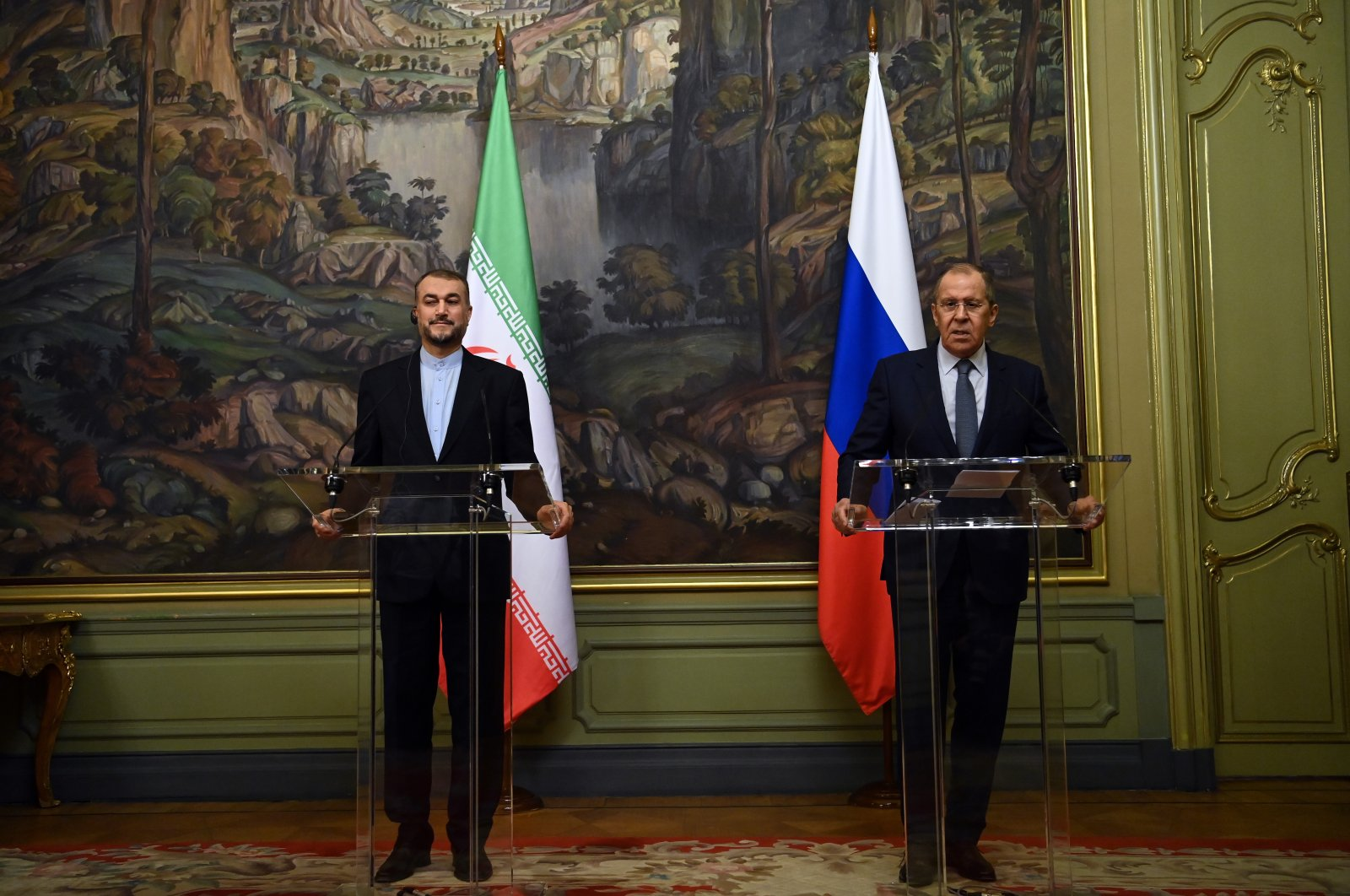 Russian Foreign Minister Sergei Lavrov (R) and Iranian Foreign Minister Hossein Amir-Abdollahian (L) attend a joint news conference following their talks in Moscow, Russia, Oct. 6, 2021. (EPA Photo)