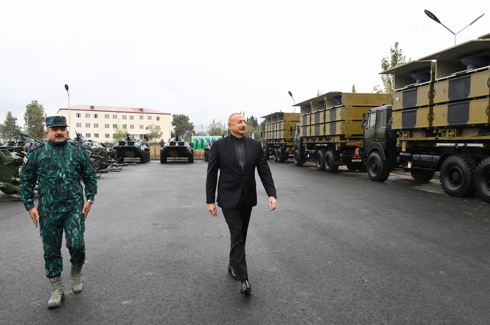 Azerbaijan's President Ilham Aliyev visits Jebrayil, Azerbaijan, Oct. 4, 2021. (AA Photo)