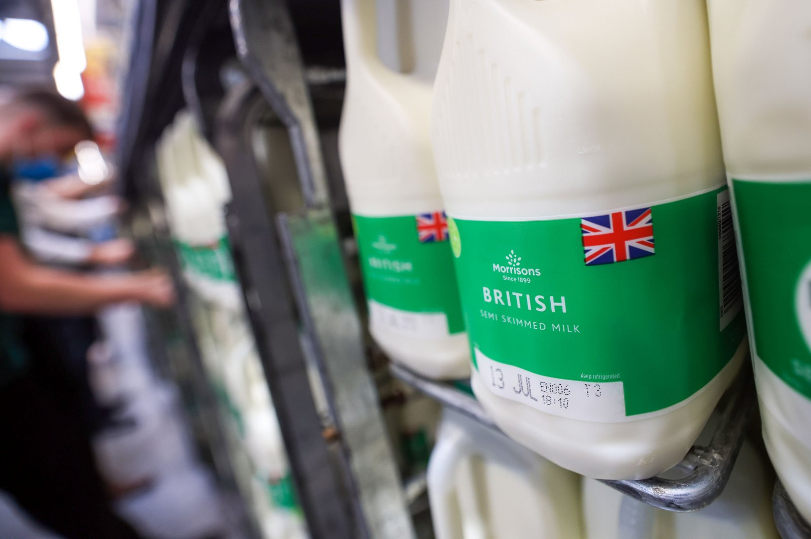 Semi-skimmed milk in a Morrisons supermarket, operated by Wm Morrison Supermarkets Plc, in Saint Ives, U.K., July 5, 2021. (Getty Images)