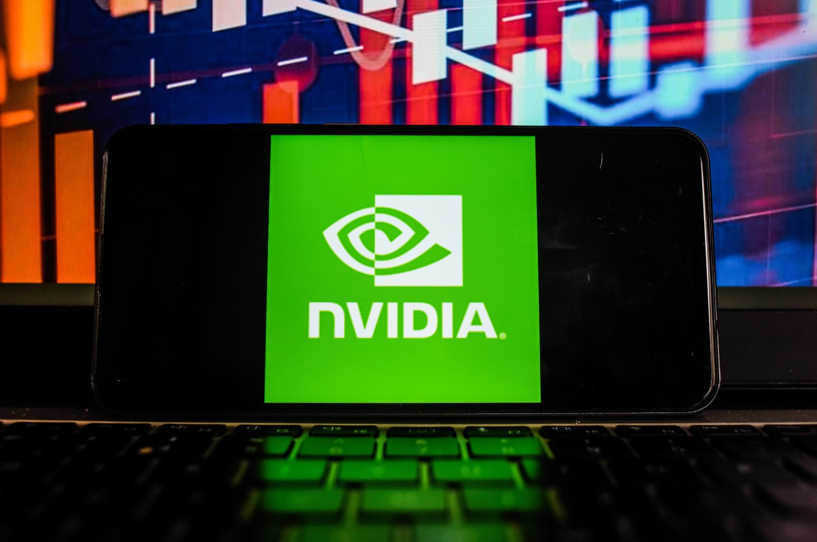 In this photo illustration, an NVidia logo is seen displayed on a smartphone with the stock market percentages in the background. (Photo by Omar Marques/SOPA Images/Sipa USA via Reuters, File Photo)