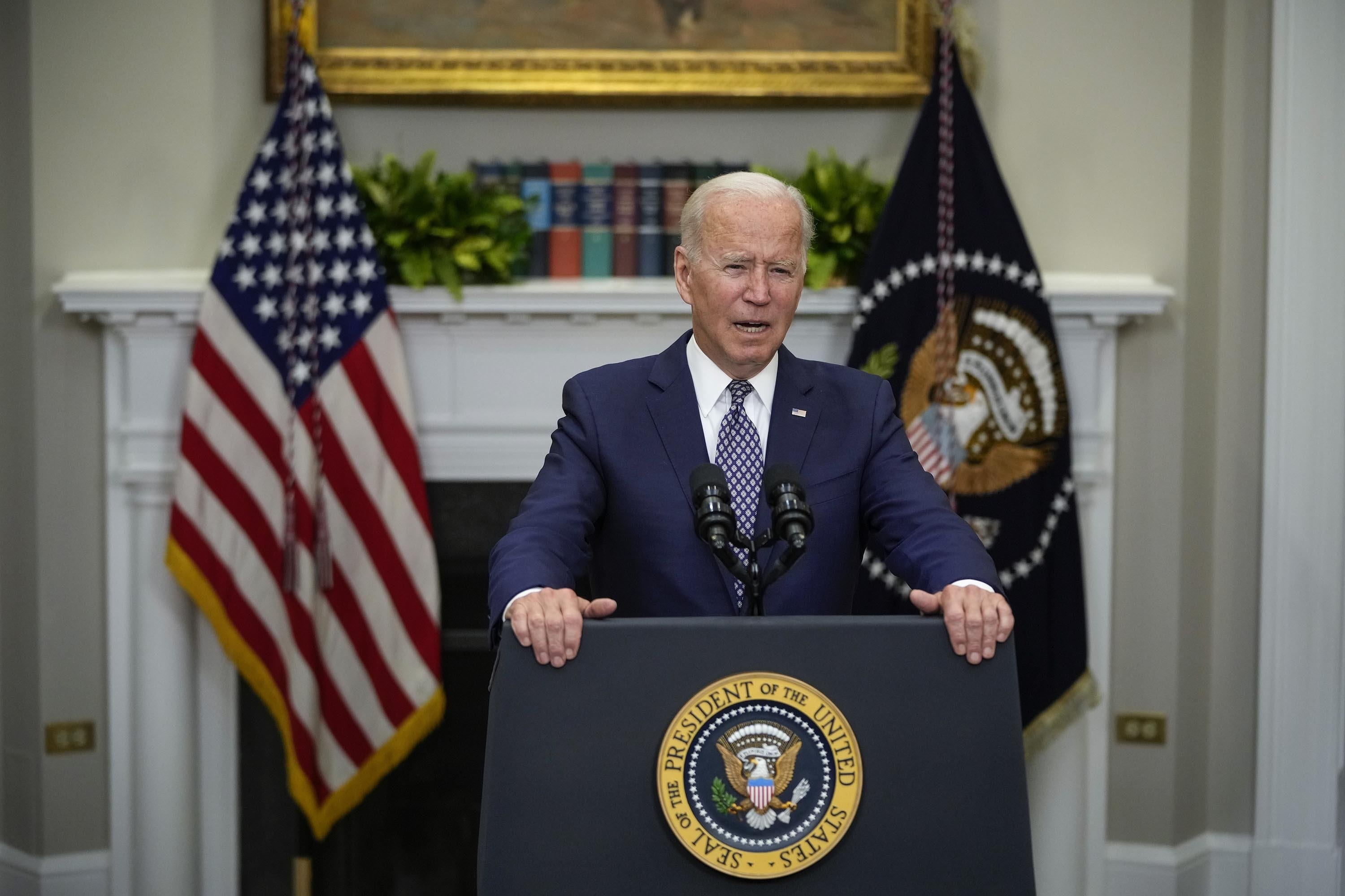 U.S. President Joe Biden speaks about the situation in Afghanistan in the Roosevelt Room of the White House in Washington, D.C., U.S., Aug. 24, 2021. (Getty Images Photo)