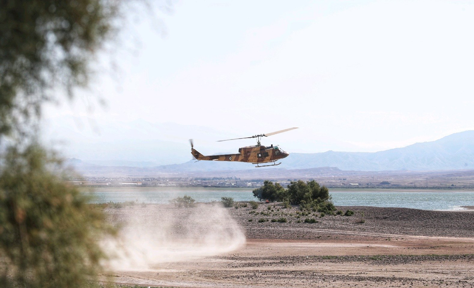 An Iranian Army helicopter during an exercise in the northwest of Iran, close to the border with Azerbaijan, Oct. 1, 2021. (EPA Photo)