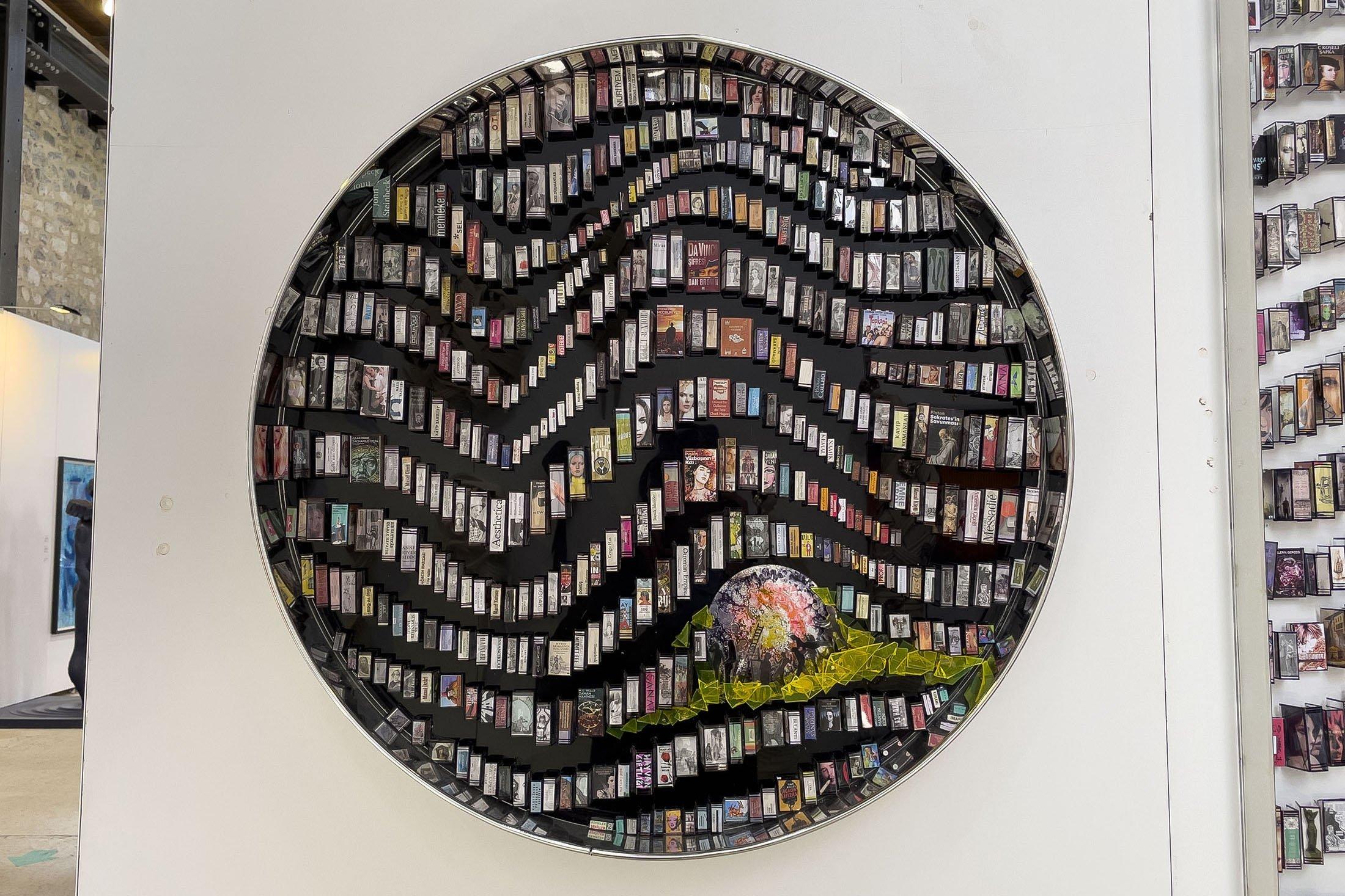 Engin Beyaz, 'Virtual Library,' 2021, mixed media plexiglass acetate, 73 by 73 by 5 centimeters. (Photo by Ahmet Koçak)