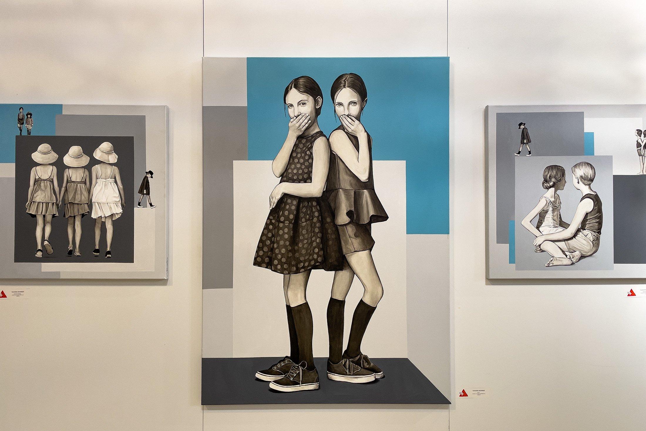 Claudia Schmidt, 'Twins,' 2021, acrylic on canvas, 140 by 100 centimeters. (Photo by Ahmet Koçak)