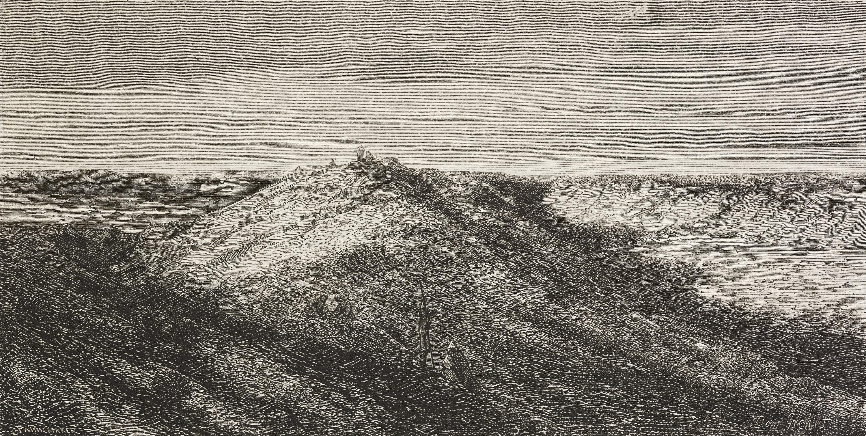 A drawing by Dominique Adolphe Grenet de Joigny shows a view of the ancient Necho's Canal, Egypt. (Getty Images)