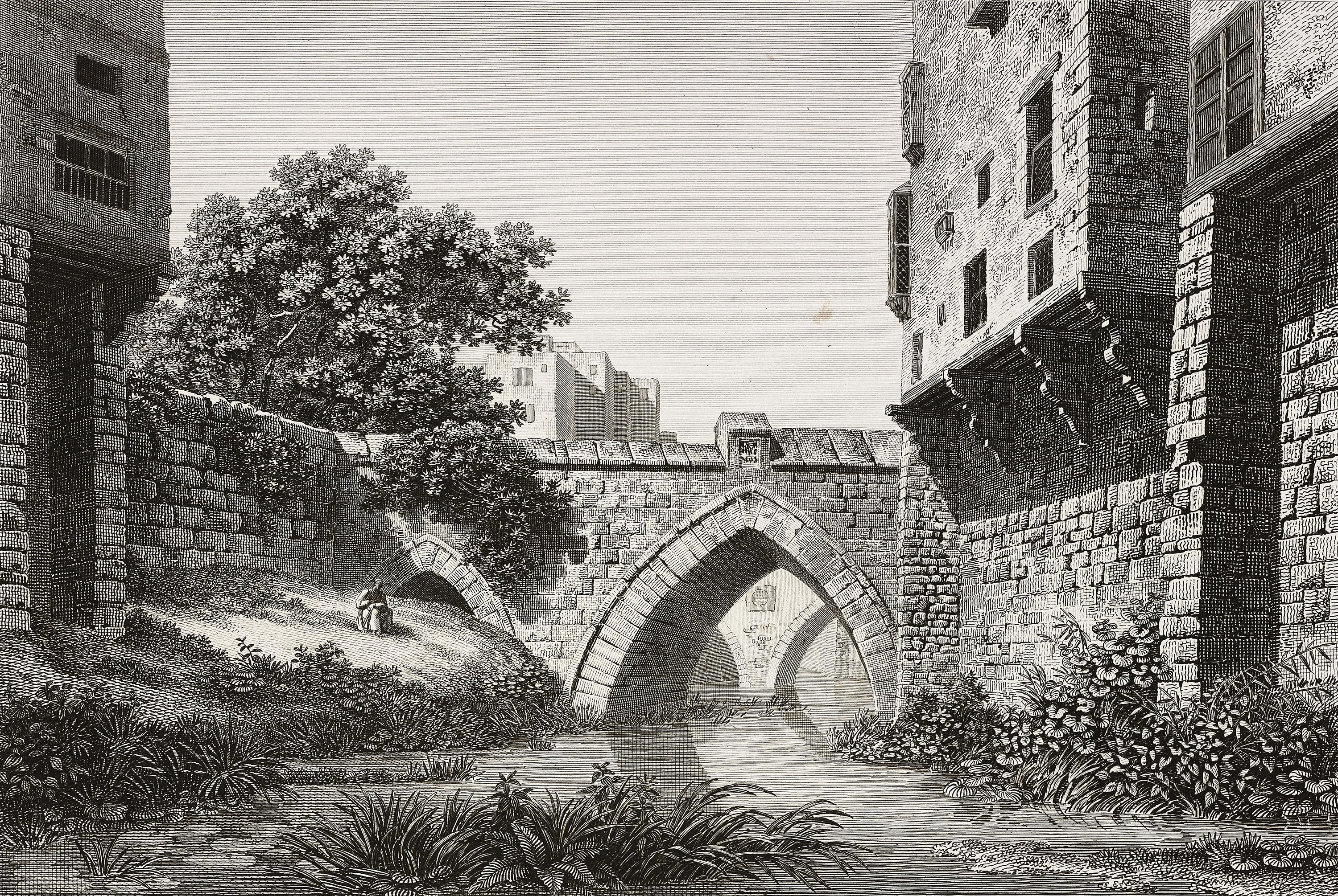 An engraving of the bridge on the Cairo canal. (Getty Images).