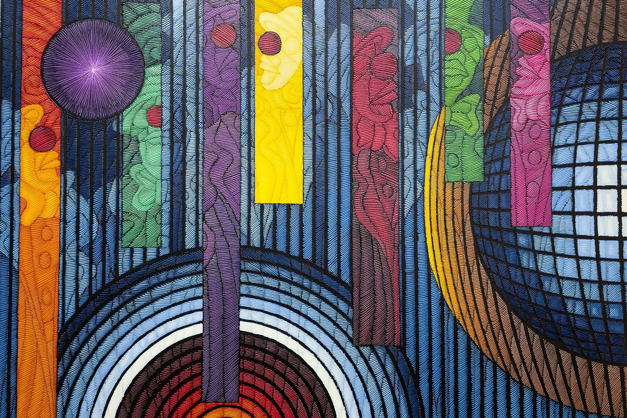 "Ahmet Güneştekin, ""Seven Colored Man,"" 2020, oil on canvas, 150 by 200 centimeters. (Photo by Ahmet Koçak)"