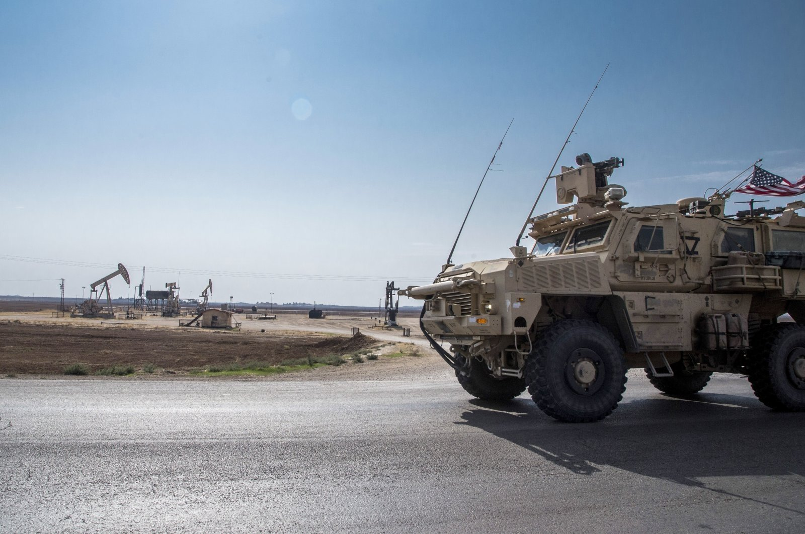 U.S. forces patrol the YPG terrorist group-controlled oil fields in northeast Syria, Oct. 28, 2019, (AP Photo)