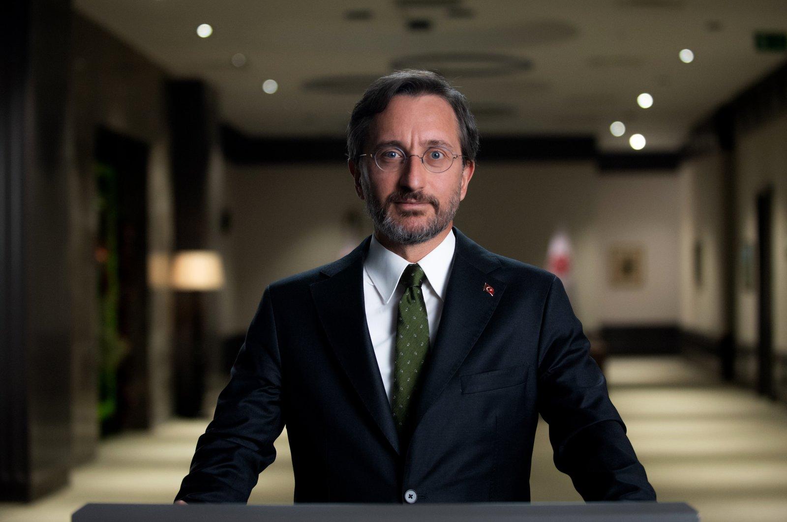 Turkey's Presidential Communications Director Fahrettin Altun addresses a videoconference, Istanbul, Turkey, Aug. 1, 2021. (AA Photo)