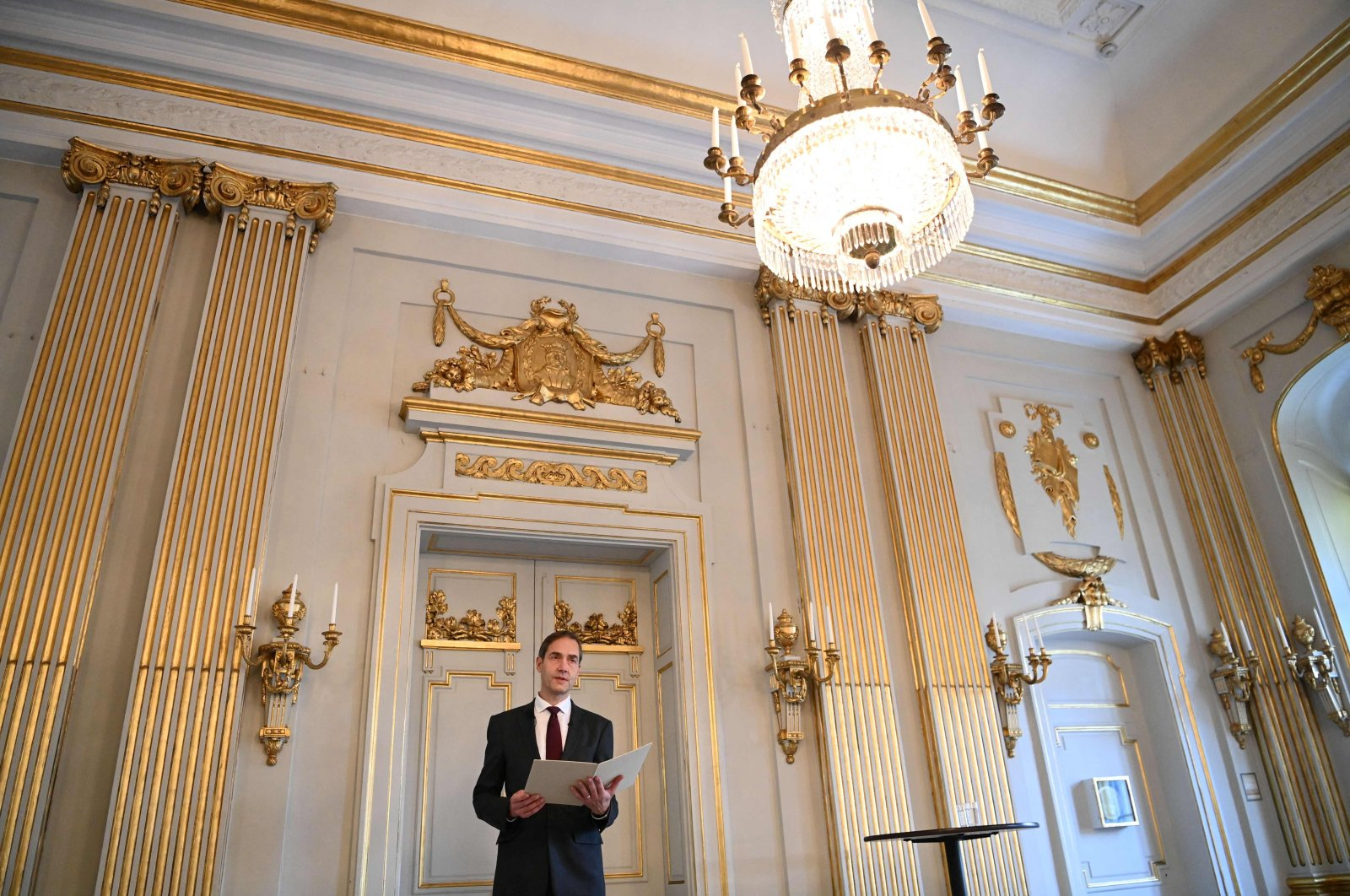 Mats Malm, permanent secretary of the Swedish Academy, speaks during a press conference to announce the winner of the 2021 Nobel Prize in literature at the Swedish Academy in Stockholm, Sweden, Oct. 7, 2021. (AFP Photo)