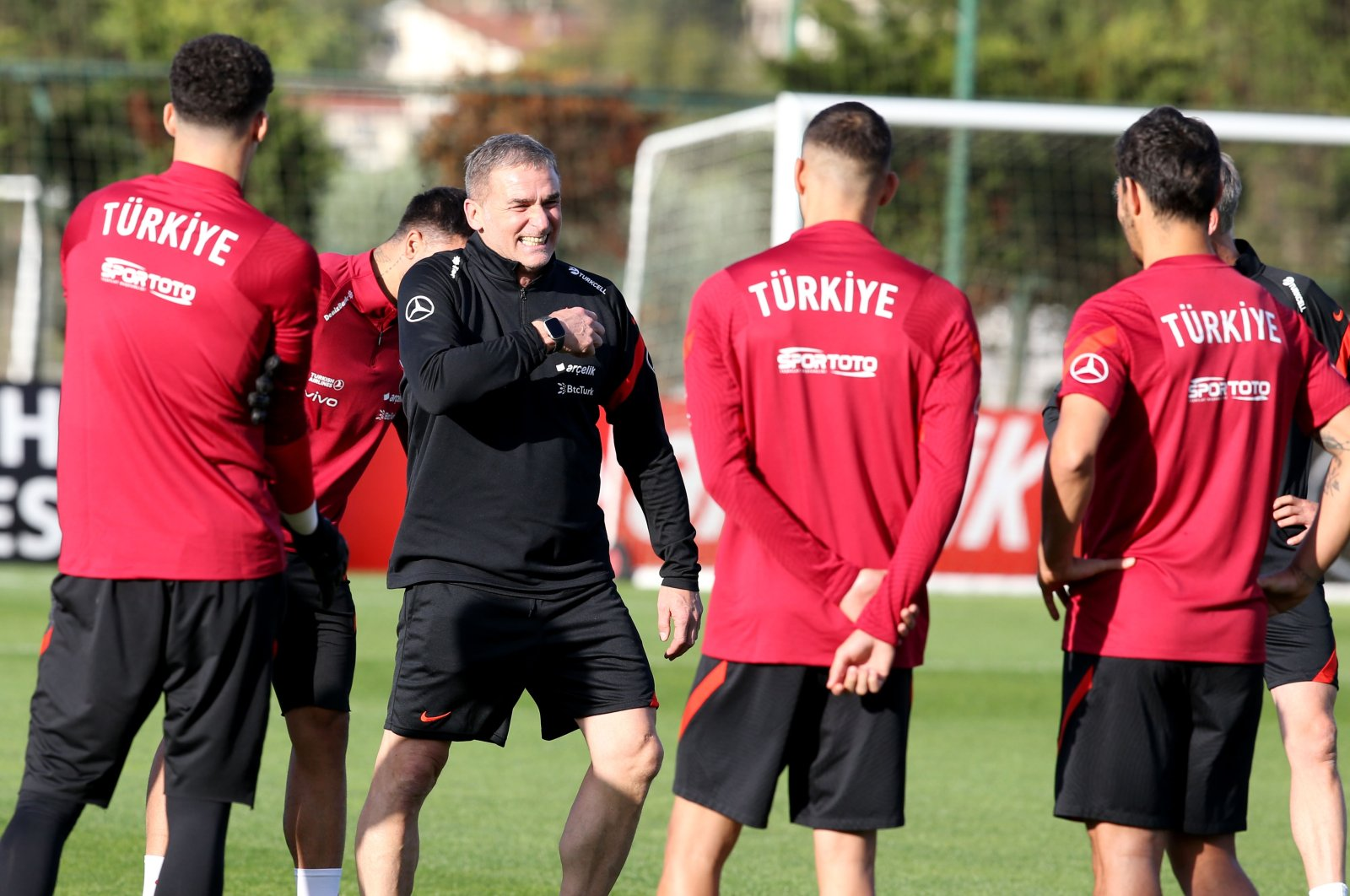 Turkish national football team coachStefan Kuntz (C) reacts during a training session in Istanbul, Turkey on Oct. 4, 2021, ahead of the upcoming World Cup 2022, Group G qualifying matchagainst Norway. (AA Photo)