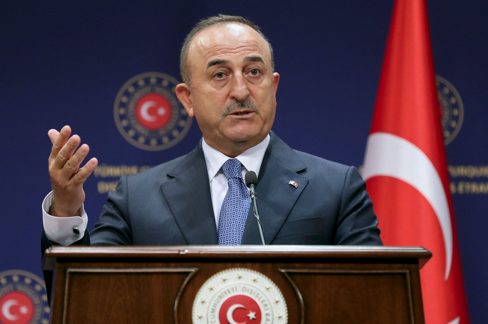 Foreign Minister Mevlüt Çavuşoğlu holds a joint press conference with the Dutch Minister of Foreign Affairs after their meeting in Ankara, Sept. 2, 2021. (AFP File Photo)