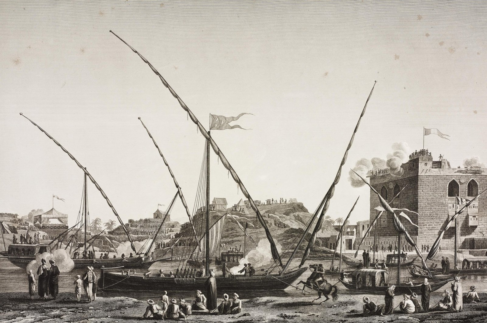 An engraving by Jacques Couche after a drawing by Andre Dutertreview shows a view of the water intake of Cairo canal and the feast for the dam opening which is held every year in Egypt. (Getty Images)