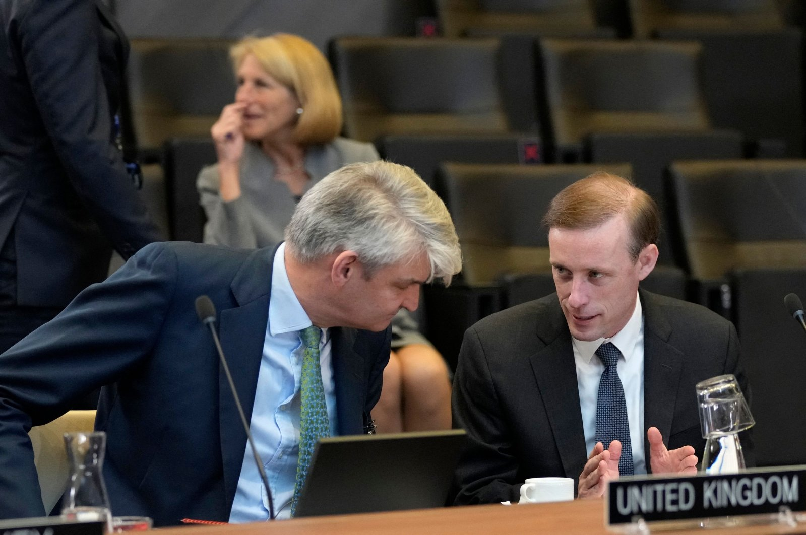 United States National Security Advisor Jake Sullivan (R) speaks with Britain's National Security Advisor Sir Stephen Lovegrove during a meeting of National Security Advisors at NATO headquarters in Brussels, Belgium, Oct. 7, 2021. (AFP Photo)