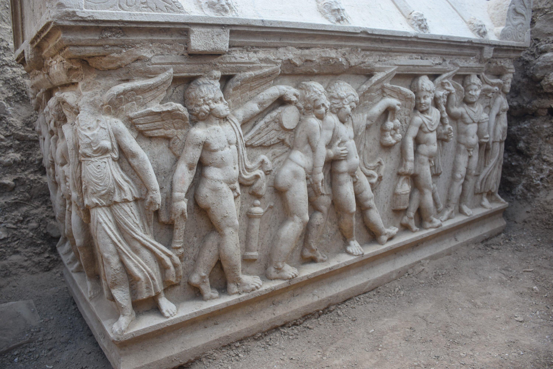 A view from a sarcophagus found in Hisardere Necropolis, Iznik, Bursa, northwestern Turkey, Oct. 5, 2021. (IHA Photo)