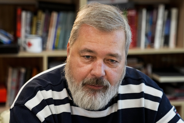 Novaya Gazeta editor Dmitry Muratov speaks during an interview with The Associated Press (AP) at the Novaya Gazeta newspaper, in Moscow, Russia, Oct. 7, 2021. (AP Photo)
