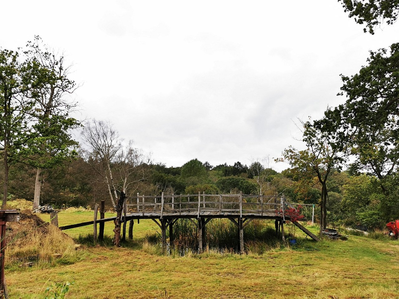 """A wooden bridge, originally known as Posingford Bridge and officially renamed Poohsticks Bridge in 1979 inspired by """"Winnie the Pooh"""" author A.A. Milne, in Ashdown Forest, East Sussex, U.K. (Summers Place Auctions via AFP)"""