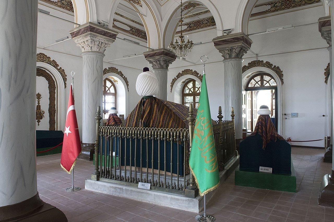 An interior view of the tomb of Murad I, in Bursa, northwestern Turkey. (Wikimedia Photo)