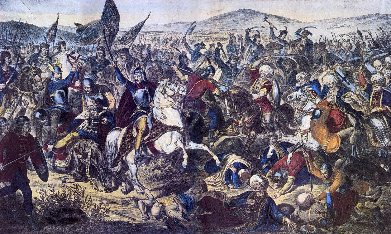 A depiction of Battle of Kosovo by Serbian lithographer and painter Adam Stefanovic. (Wikimedia Photo)