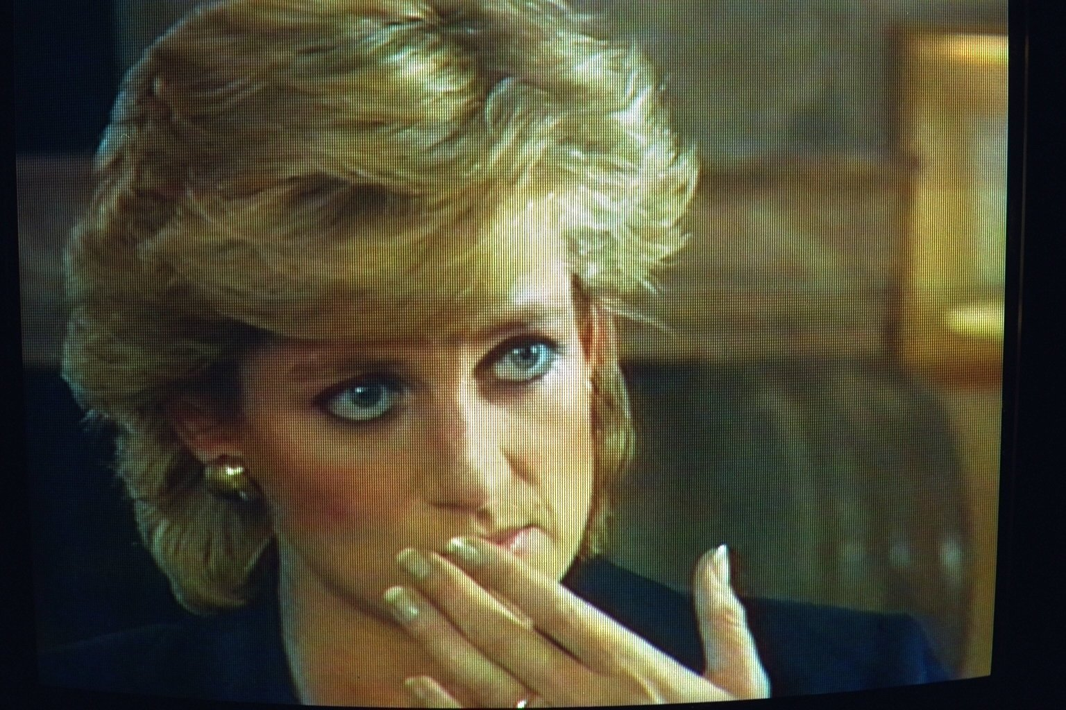 """Princess Diana during an interview with Martin Bashir for the TV program""""Panorama"""" on the BBC at theKensington Palace, London, U.K., Nov. 20, 1995. (Getty Images)"""