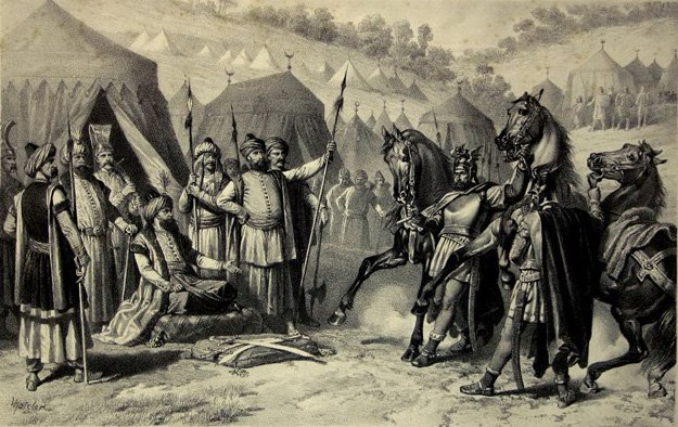 'Milos Obilic at the tent of Murad' by Serbian lithographer and painter Adam Stefanovic. (Wikimedia Photo)