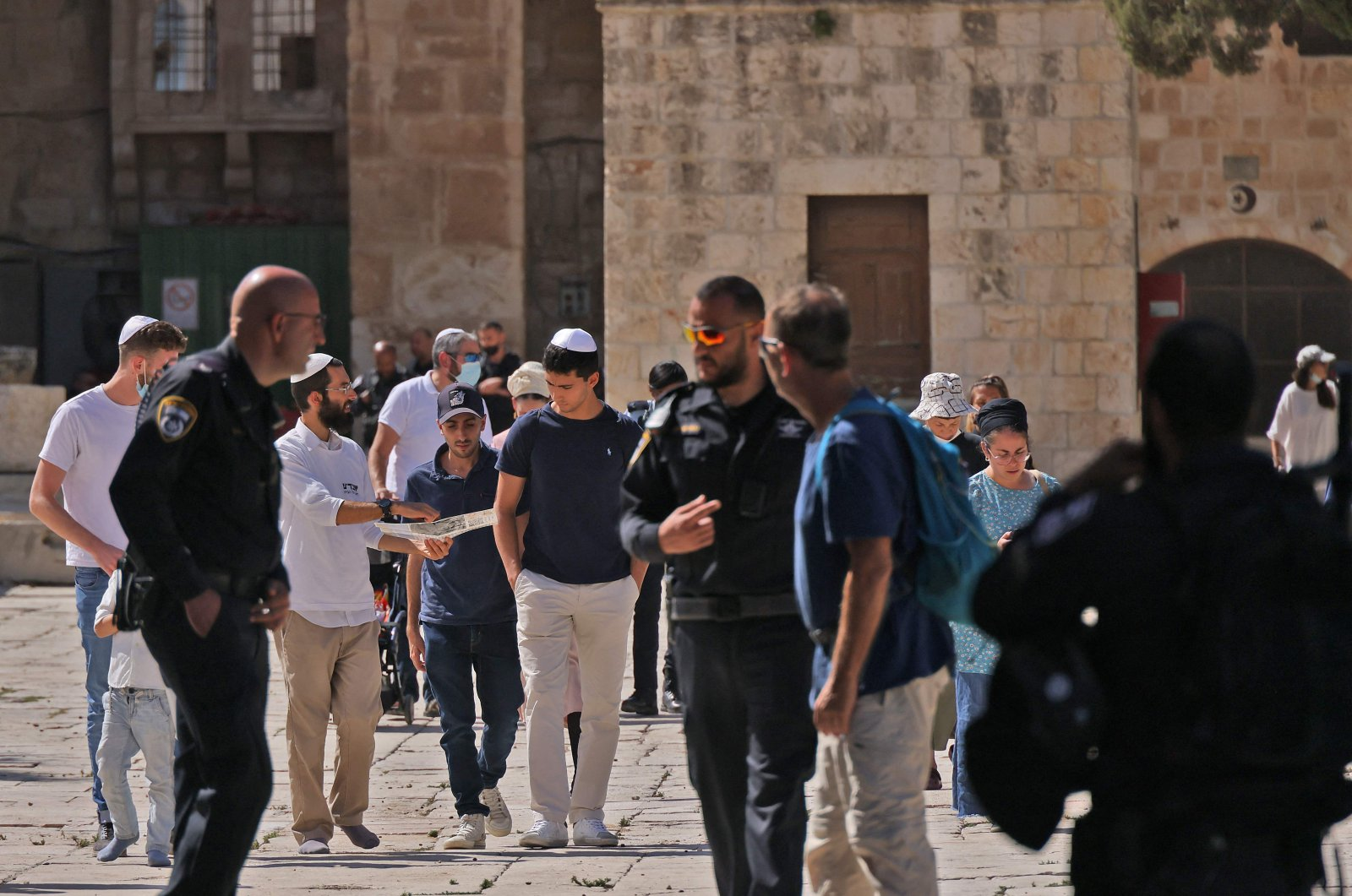 A group of religious Jews visit the Al-Aqsa Mosque compound in East Jerusalem's Old City, occupied Palestine, Oct. 7, 2021. (AFP Photo)