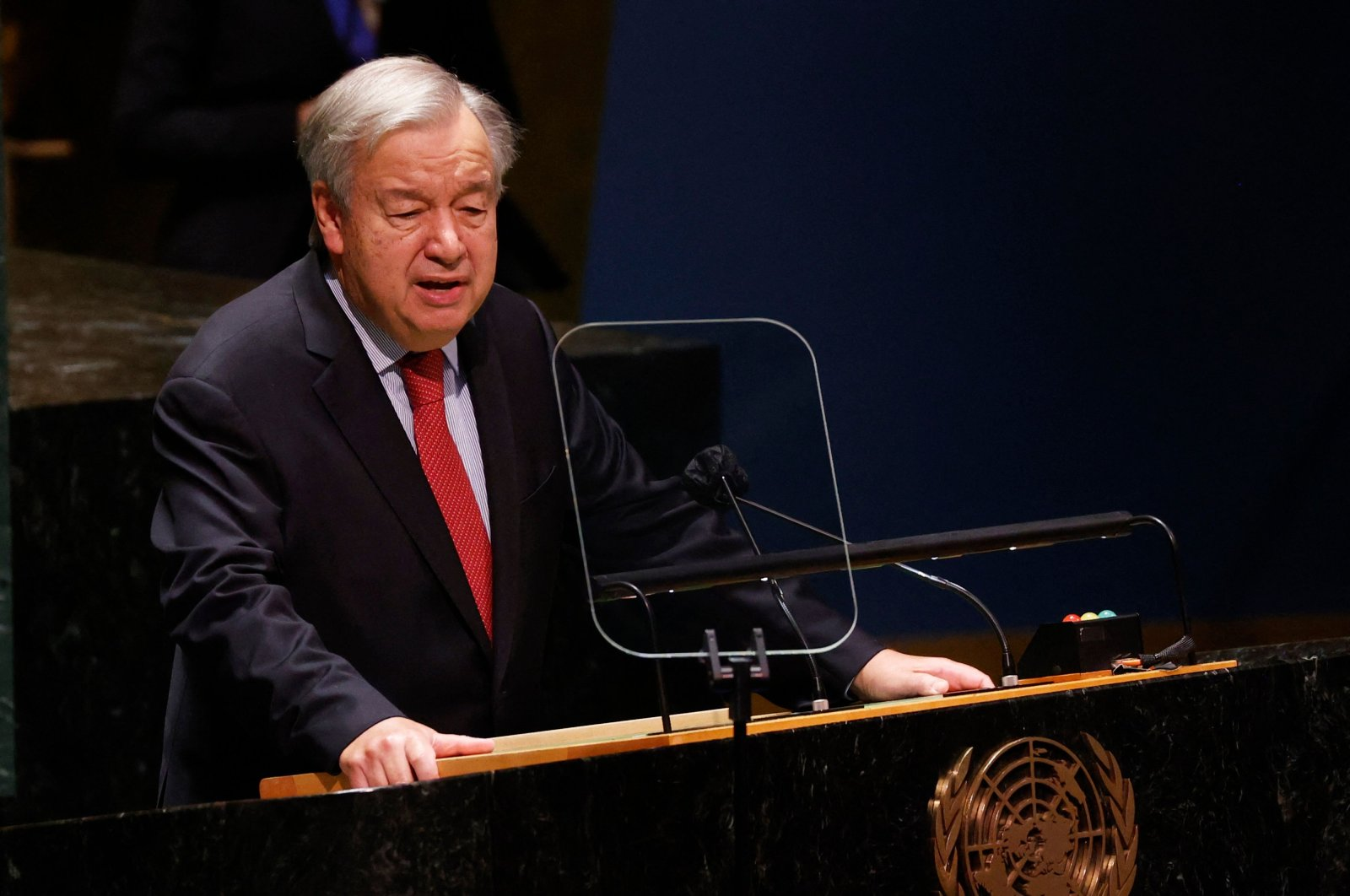 United Nations Secretary-General Antonio Guterres speaks at a high-level meeting to commemorate the 20th anniversary of the adoption of the Durban Declaration and Programme of Action, at the U.N. headquarters in New York City, U.S., Sept. 22, 2021. (AFP Photo)