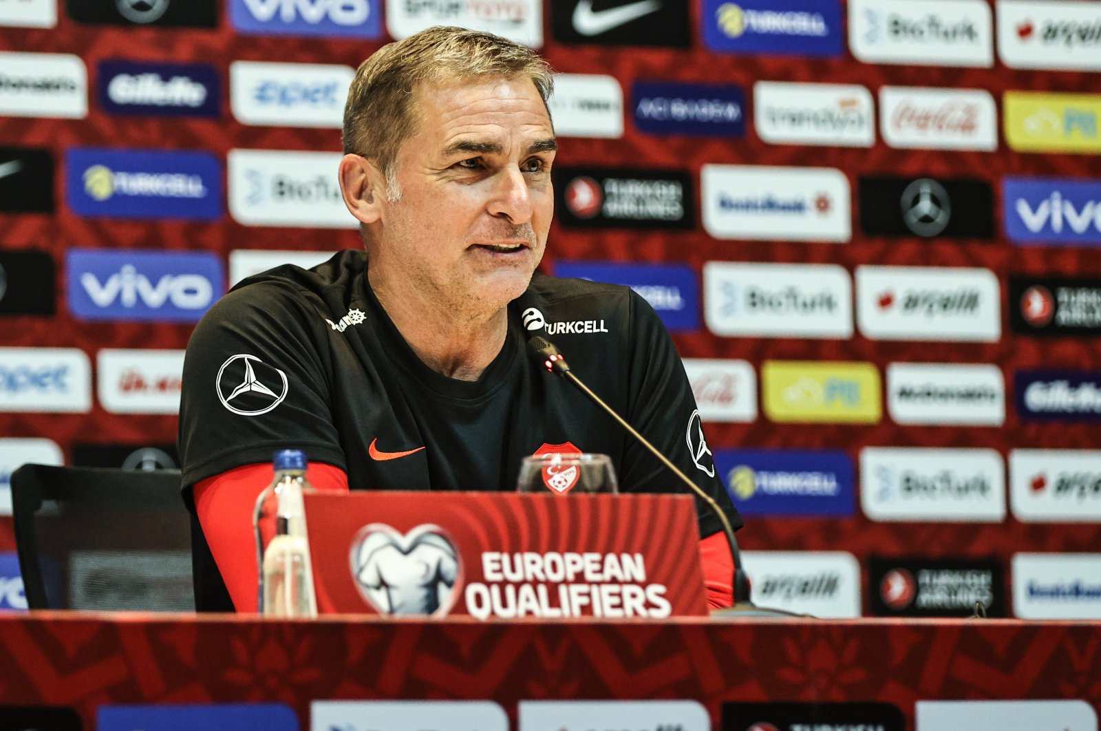 Turkey coach Stefan Kuntz speaks at a press conference ahead of the World Cup 2022 qualifier match against Norway, in Istanbul, Turkey, Oct. 7, 2021. (AA Photo)