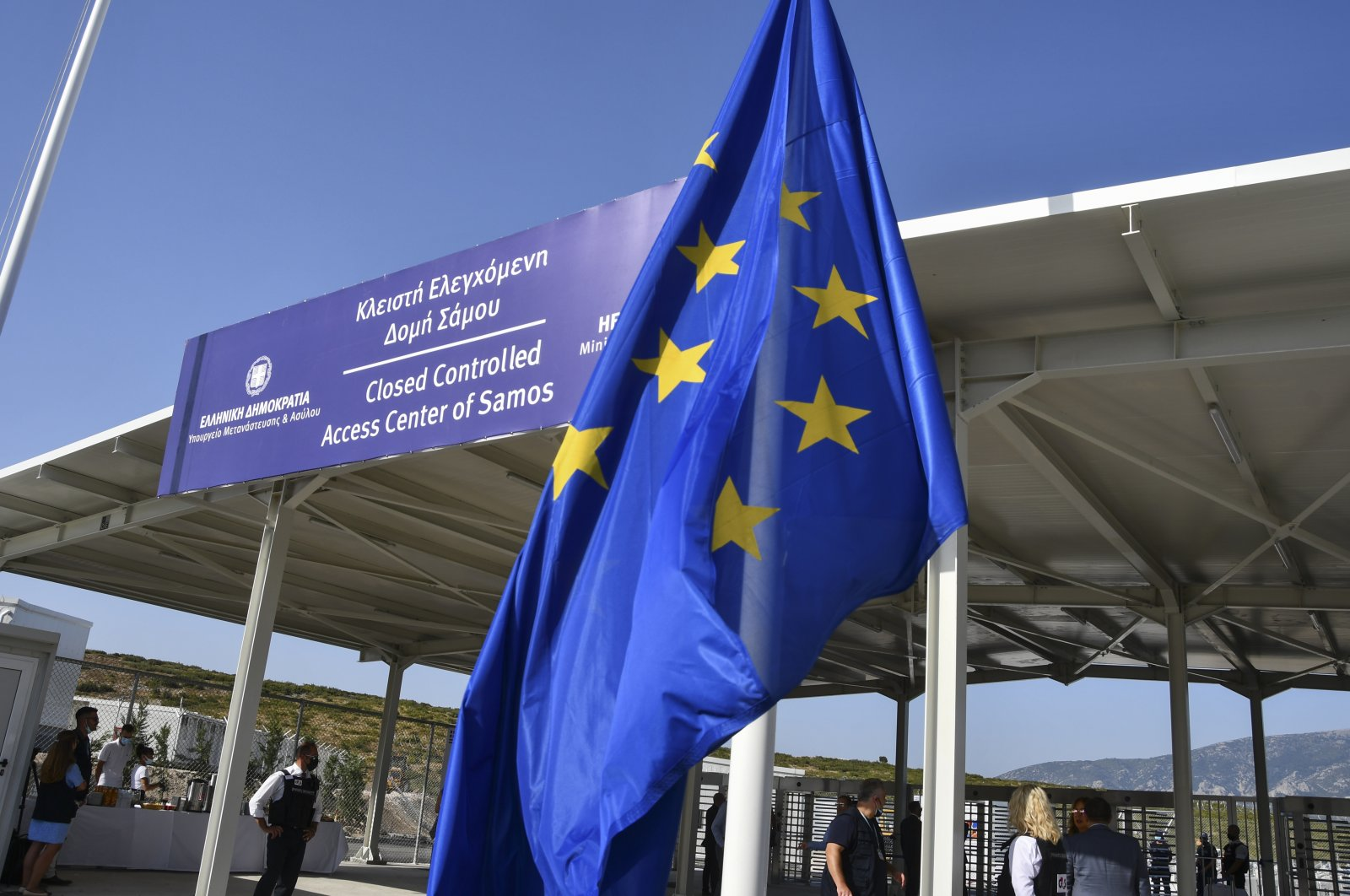 A view of the entrance of the new multi-purpose reception and identification migrant center near the town of Vathy, on the eastern Aegean island of Samos, Greece, Sept. 18, 2021. (AP Photo)