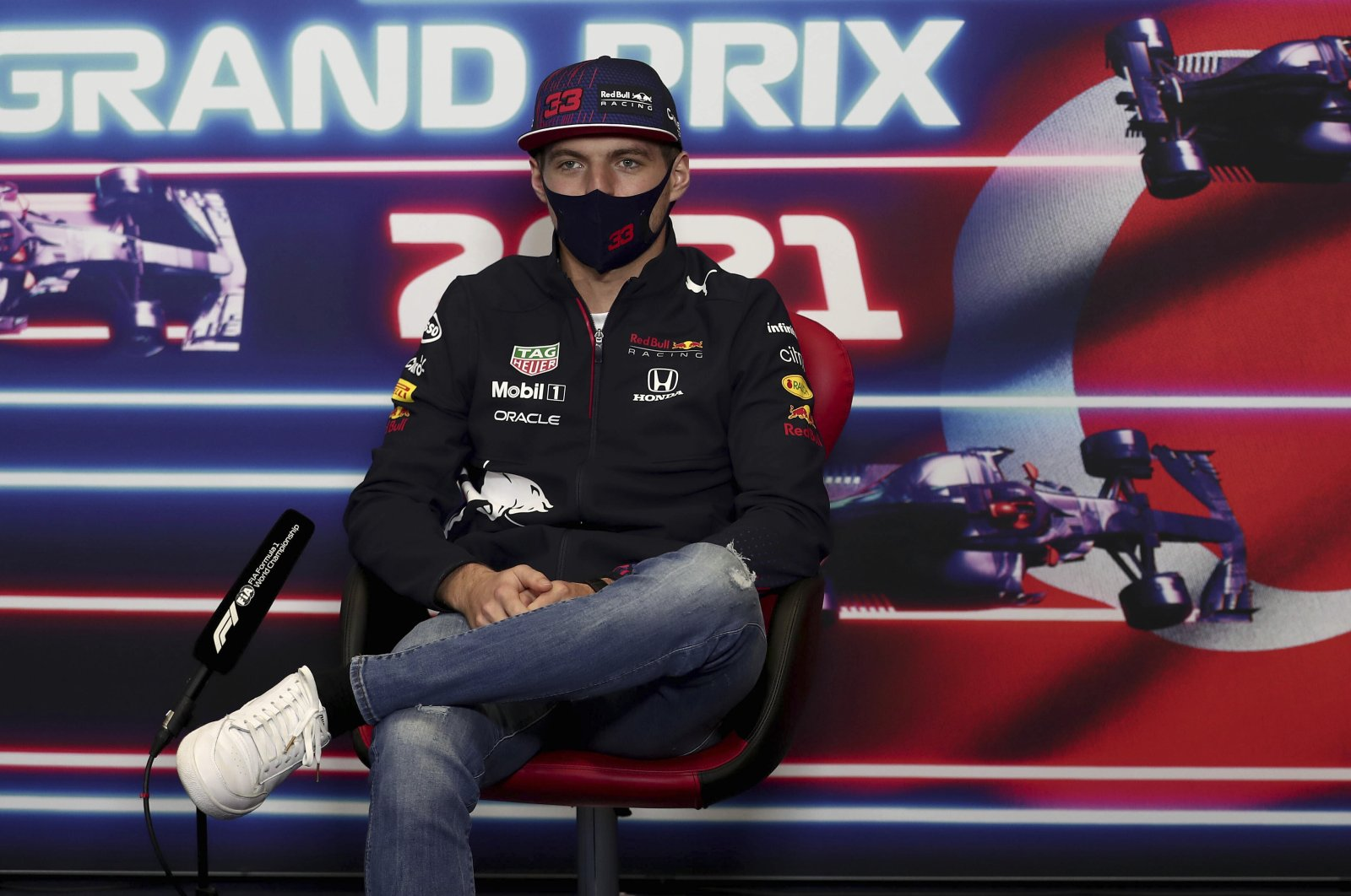 Red Bull driver Max Verstappen speaks during a press conference ahead of the F1 Turkish Grand Prix at the Istanbul Park circuit in Istanbul, Turkey, Oct. 7, 2021. (AP Photo)