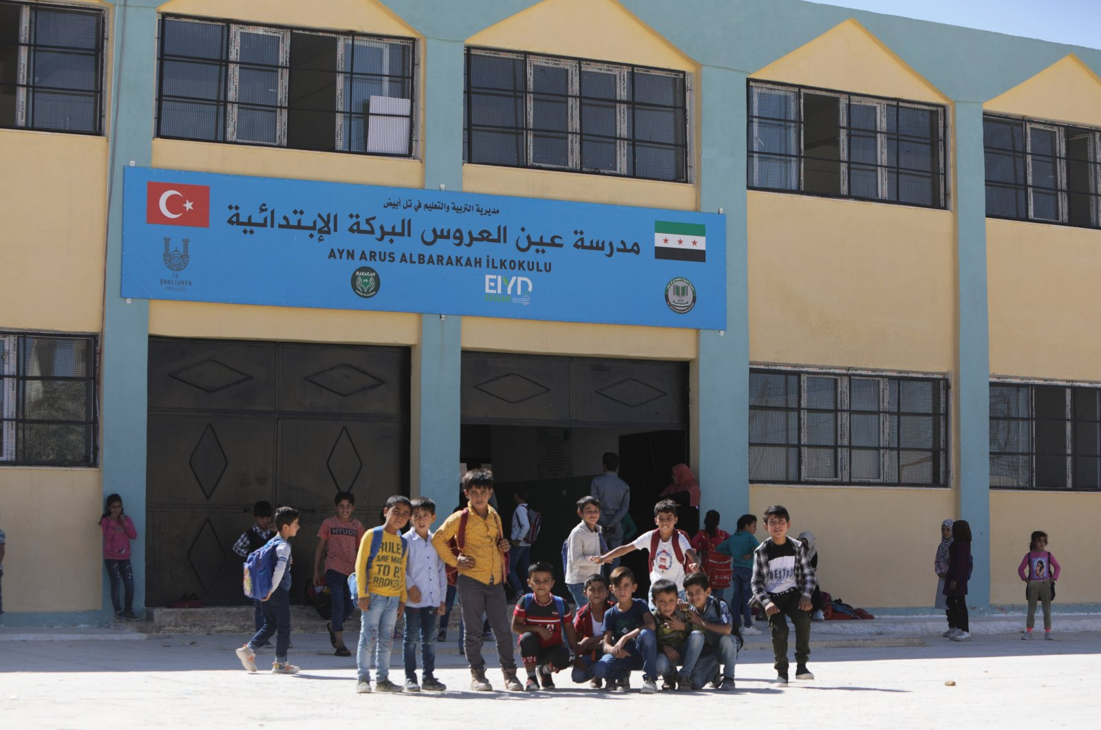 Syrian children are seen attending school in the Operation Peace Spring area, Oct. 8, 2021 (AA Photo)