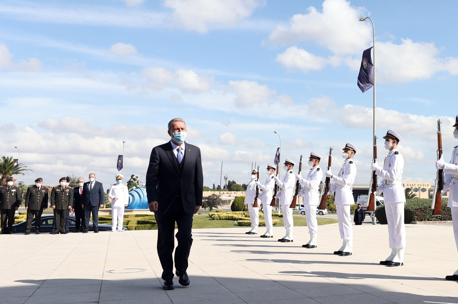 Defense Minister Hulusi Akar attends the opening ceremony for the 2021-2022 academic year of the National Defense University Naval School, Istanbul, Turkey, Oct. 8, 2021. (AA Photo)