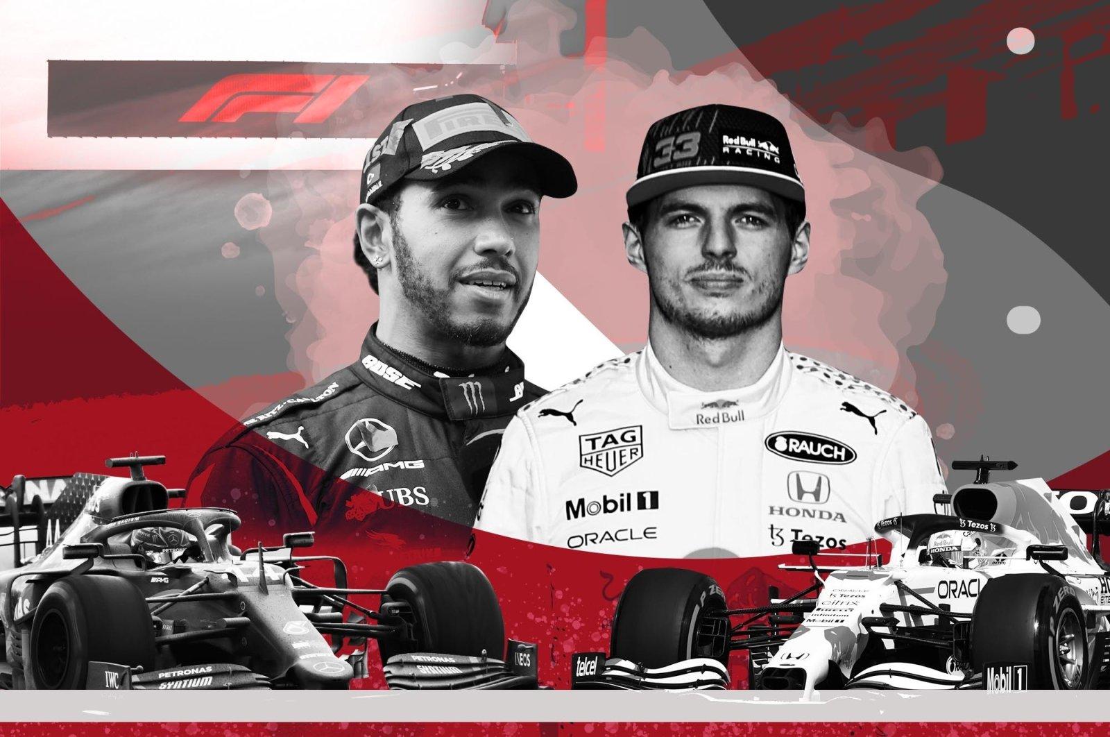A photo illustration by Daily Sabah's Büşra Öztürk shows Mercedes driver Lewis Hamilton (L) and Red Bull's Max Verstappen. (Büşra Öztürk)
